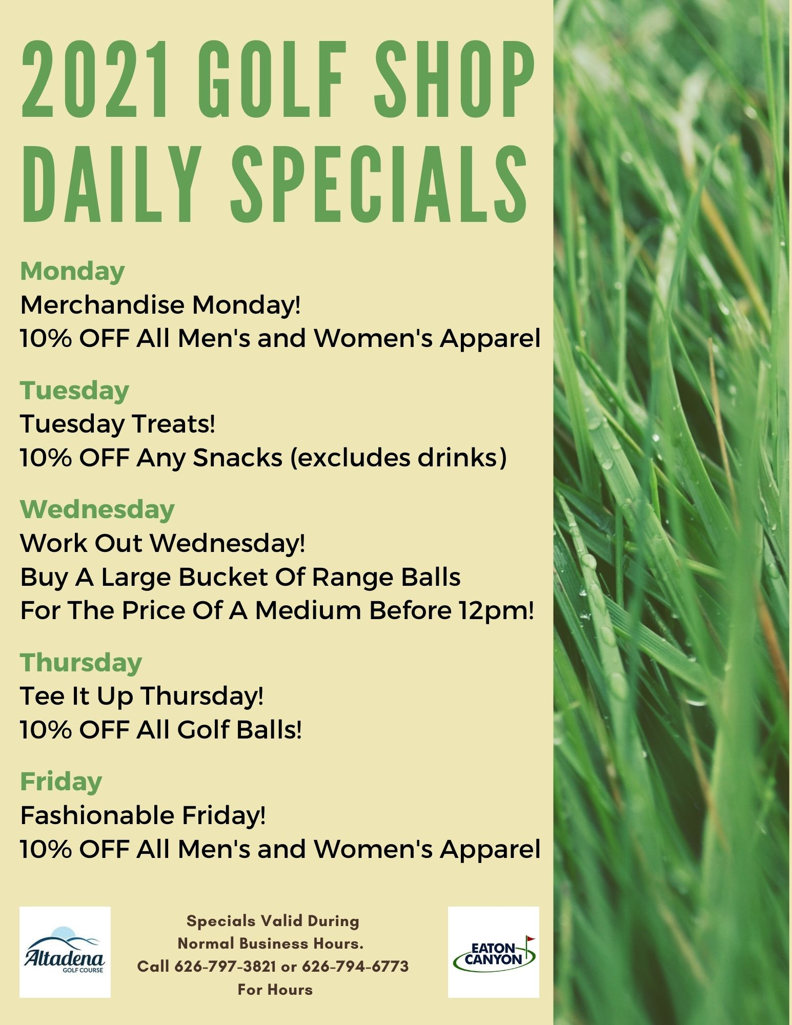 2021 Golf Shop Daily Specials